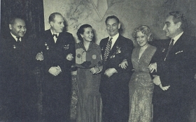 From left to right: Lev Sverdlin, Ivan Kozlovsky, Tamara Makarova, Vsevolod Pudovkin, Lyubov Orlova, Grigory Alexandrov. 1954 year. The photo. (Слева направо: Лев Свердлин, Иван Козловский, Тамара Макарова, Всеволод Пудовкин, Любовь Орлова, Григорий Александров. 1954 год. Фотография.) (Belyaev)